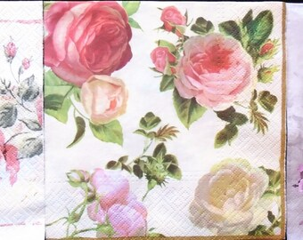 Set of 3, Vintage Floral, Roses, Cherubs, Luncheon Napkins for Decoupage and Paper Crafts