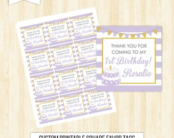 lavender favor tags birthday favor tags lavander favor tags girl favor tags printable first birthday favor tags square tags thank you 214