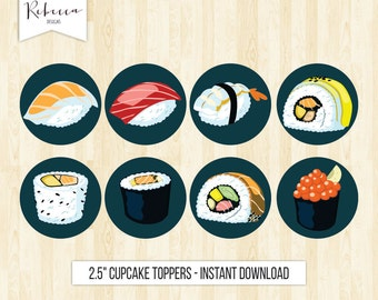 sushi cupcake toppers sushi party toppers printable birthday toppers japanese cupcake toppers sushi topper sushi birthday stickers sushi 224