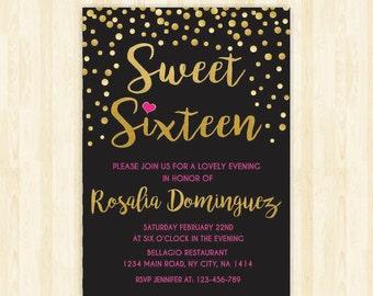 sweet 16 invitation sweet sixteen invitation 16th birthday invite quinceañera printable invitation pink and gold invite gold confetti  233