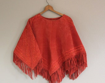 Vintage SUEDE LEATHER Poncho *Bright Red Beaded Fringed Hippie Festival Wear *Retro Rockabilly Western Rodeo Cape With Tags -Women's Small