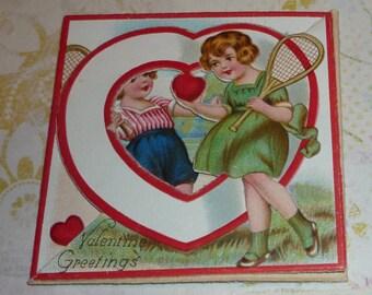 Valentine Greetings - A Tennis LOVE Match Vintage 1920s Valentine Card