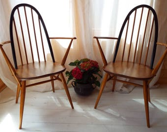 Pair of Ercol Quaker Carver dining chairs