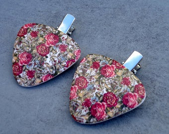 Floral hair clips: hair clips women and girls- floral hair accessories- polymer clay hair accessories- gift for girls and women- roses pins