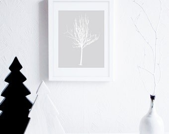 Printable Decor, White Tree Art Print, Neutral Art, Minimal Art Print, Gray and White Nature Art Print, Instant Download