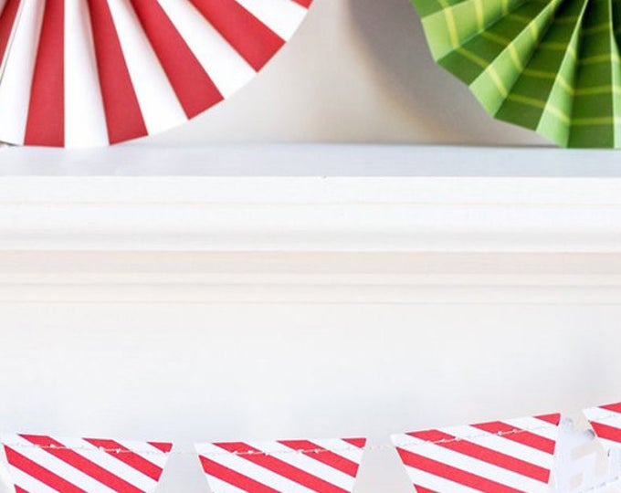 Striped Pennant Garland, Red and White Pennant Banner, Triangle Banner, Birthday Party Banner, Baby Shower Bunting, HYP405