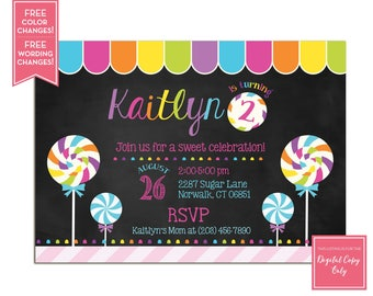 Candy Birthday Party Invitation - Candy Shop Party Invite - Sweet Celebration - Sweet Shop Party - Lollipop Invite - Candy Land - LR1084