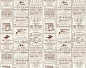 Tissu de Cowboy par Riley Blake tissu, C5632 Cowboy annonces crème, Samantha Walker, papier journal Vintage tissu, Western coton couette tissu imprimé