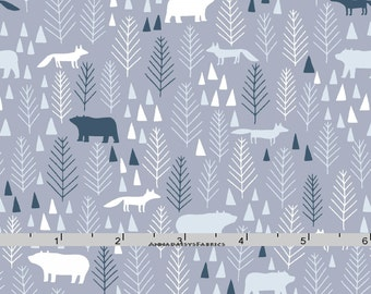 Gray Fox & Bear Woodland Fabric, Dear Stella 581 The Big Chill, Woodland Quilt Fabric, Shades of Grey, Navy, Light Blue, Cotton Yardage