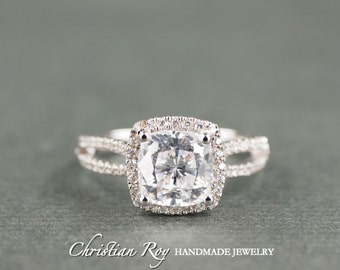 Cushion Cut Diamond Simulant Engagement Ring - Sterling Silver (#CRRMR174SS)