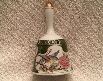Imari Design Bell, Birds & Flowers Bell, Gold Trim, Oriental Trading Porcelain Bell, Japanese Porcelain Bell, Floral Bell