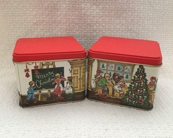 Christmas Tins, Square Tins, Potpourri Press Tins, Set of 2 tins, Xmas Tins,School Scene