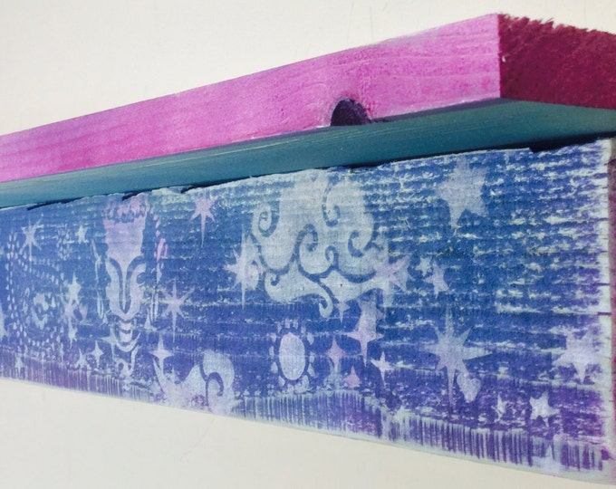Custom yoga studio decor/ wooden floating shelves /pallet wood bookshelves zen art wall hanging book shelf wall organizer accent shelving