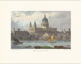 St Paul's Cathedral London city River Thames victorian vintage print coloured engraving 7 x 9.25 inches