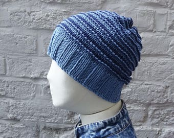 Lightweight Stripes Denim Blues Classic Beanie, Cotton and Acrylic, READY TO SHIP
