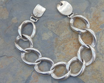 D'Molina ~ Chunky Mexican Sterling Silver Ring Link Bracelet - 58 Grams