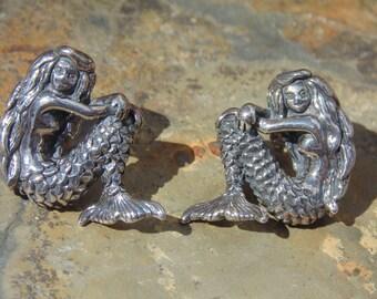 Vintage Kabana ~ Sterling Silver Detailed Mermaid Post Earrings