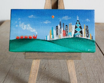 "Chicago skyline, mini painting,  2x4 canvas, on easel, ooak, ""Red Line"" tiny train traveling to the city, original Smigielski art."