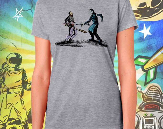 Game of Thrones / Walking Dead / Womans Gray Shirt / The Nights King Picks Walking Dead's Negan