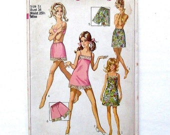 Vintage 1968 Simplicity Misses' Slip, 1/2 Slip & Petit-Pants Sewing Pattern #7693 - UNCUT - Size 12 (Bust 34)