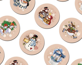 Round 3.313 inch images for 1 inch buttons Digital Collage Sheet Snowman Christmas New Year Vintage Printable Original 226_l