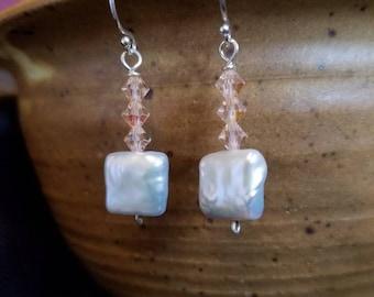 Freshwater Pearl Chiclet & Crystal Dangle Earrings