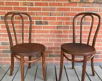 RESERVED FOR DIANA - Set of 2 Two Vintage Thonet Bentwood No. 18 Cafe Chairs Bistro Chairs