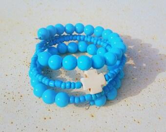 Greek Bracelet, Adjustable Blue Statement Bracelet, Religious Cross Protection Greek Jewelry, Healing Protective Bold Memory Wire Bracelet