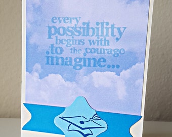 Inspirational Graduation Card with Blue Clouds and Quote: Limited Quantity