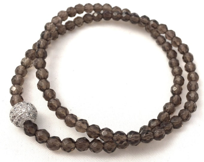 Smoky Quartz Bracelet- Quartz Wrap Bracelet-  Brown Gemstone Bracelet- Women's  Beaded Wrap Bracelet- Gift for Her- Beaded Bracelet