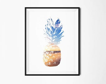 pineapple print, pineapple art, pineapple decor, tropical decor, tropical wall art, tropical print, pineapple wall art, printable pineapple