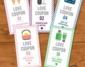 Printable Romantic Love Coupons -INSTANT DOWNLOAD, Valentines Day, Anniversary , Coupons for Him, Coupons for her