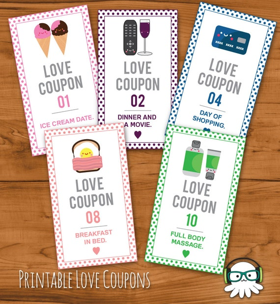 Romantic Anniversary Gift Girlfriend Gift Coupon Book: Printable Romantic Love Coupons INSTANT DOWNLOAD Valentines
