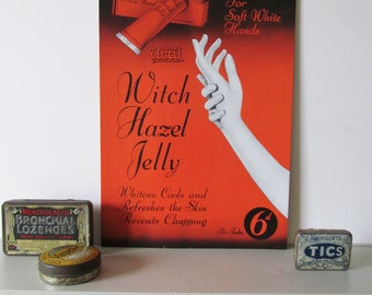 Quirky freestanding shop display show card~c1950s~Witch Hazel Jelly~Great salon prop or bathroom display