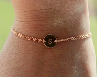 Rose gold Monogram bracelet, initial disc bracelet, dainty bracelet. wedding accessory, bridesmaid gift, friendship bracelet