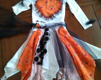 Cute children upcycled patcwork gypsy dress SİZE S/baby boho dress/white orange dress for girls/upcycled tutu dress