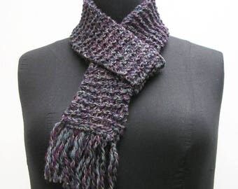 Slate blue scarf, purple scarf, hand knitted scarf, woman's scarf, woman's knitted scarf, slate scarf, skinny scarf, narrow fringed scarf