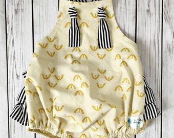 Mustard Yellow Romper , Mustard Baby Romper , Dandelion Romper , Yellow Sunsuit , Toddler Romper , Modern Baby Romper , Ruffle Romper