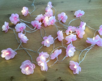 30 Cherry blossom fairy lights - led lights 30 led fairy lights - Flower string lights