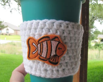 Clown Fish Cup Cozy, Crochet Sleeve, Drink Holder, Hot or Cold Beverage, Summer, Birthday Gift, Party Favor, Gift Exchange, Grab Bag