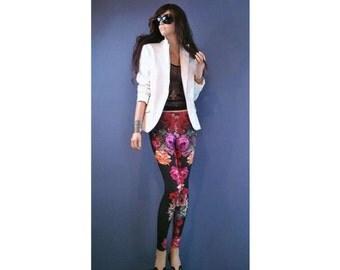 DOLCE FLORA floral leggings tropical print festival leggings rose print flower print boho clothing grunge leggings vintage print leggings