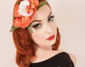 Rockabilly Pin Up Orange  & white Triple Orchid hair Flower Fascinator comb