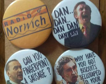 Alan Partridge - classic comedy quotes - Coogan - 4 pin back button badges