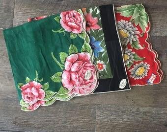 Womens Handkerchiefs, Burmel Irish Linen handkerchiefs, 3 ladies hankies, burmel handkerchief, vintage hankies, floral hanky set