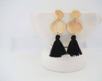 Black Tassel and Gold Circle Post Earrings