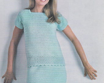 PDF crochet short sleeved suit top and skirt vintage crochet pattern pdf INSTANT download pattern only pdf 1960s