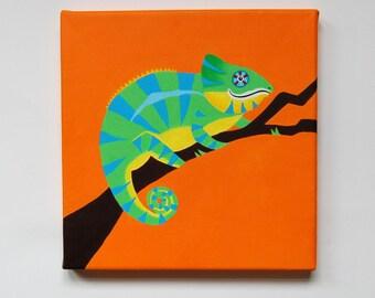 """Original Chameleon painting, Chameleon Art, Animal Wall Art, Reptile decor, Boys bedroom art, reptile lover, Lizard art, 8"""" x 8"""" canvas"""