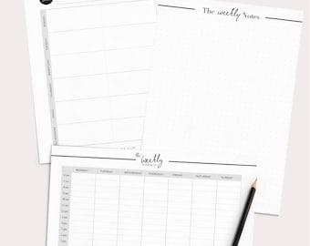 Weekly Planner Printable, Weekly Planner Kit, Printable Planner Inserts, Weekly Schedule, Weekly Agenda, Productivity Planner
