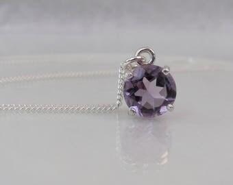 Purple Amethyst Pendant, Amethyst Necklace, Sterling Silver, February Birthstone Gift, 8mm Brazil Amethyst Gemstone, Amethyst Jewelry