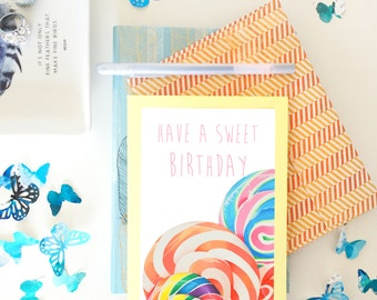Birthday Card / Lollipop Card / Foodie Birthday Card / Lollipop swirl / Candy Birthday Card / Rainbow Lollipop Art / Sweet Tooth Birthday